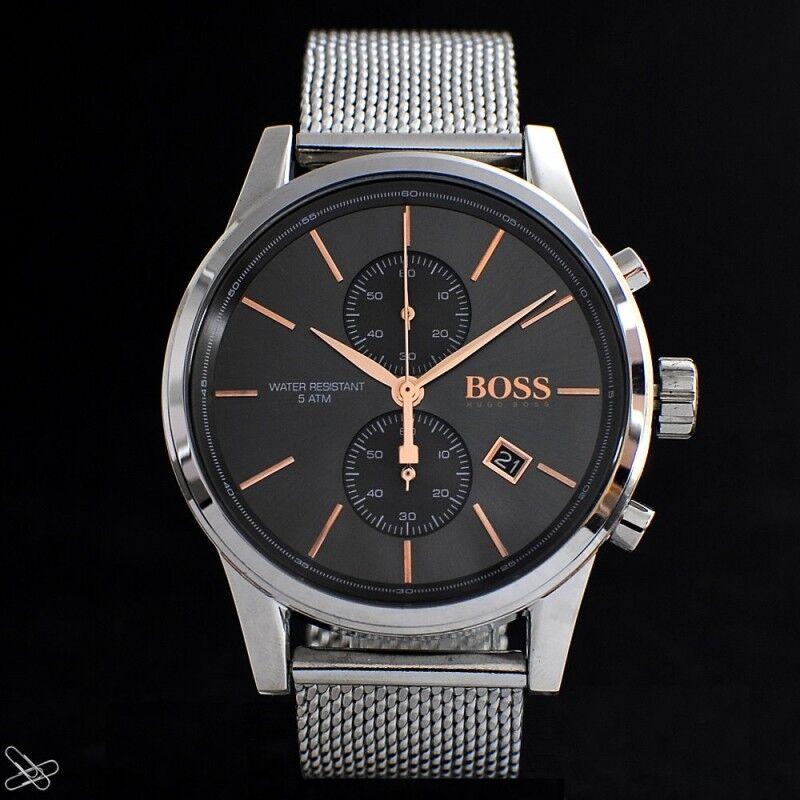 Hugo Boss Herrenuhr 1513440 Chronograph Edelstahl Meshband Farbe: Silber Rotgold