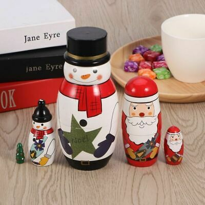5 Cutie Russian Stacking Doll Nesting Dolls Adorable Collection Toy Snowman Xmas