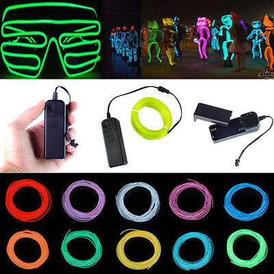 LED String Strip Rope Light Neon Glow EL Wire Clothes Dance Party - Led Light Clothing
