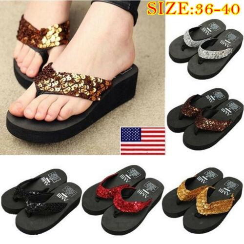 Women Summer Sequin Thong Flip Flops Wedge Sandals Platform
