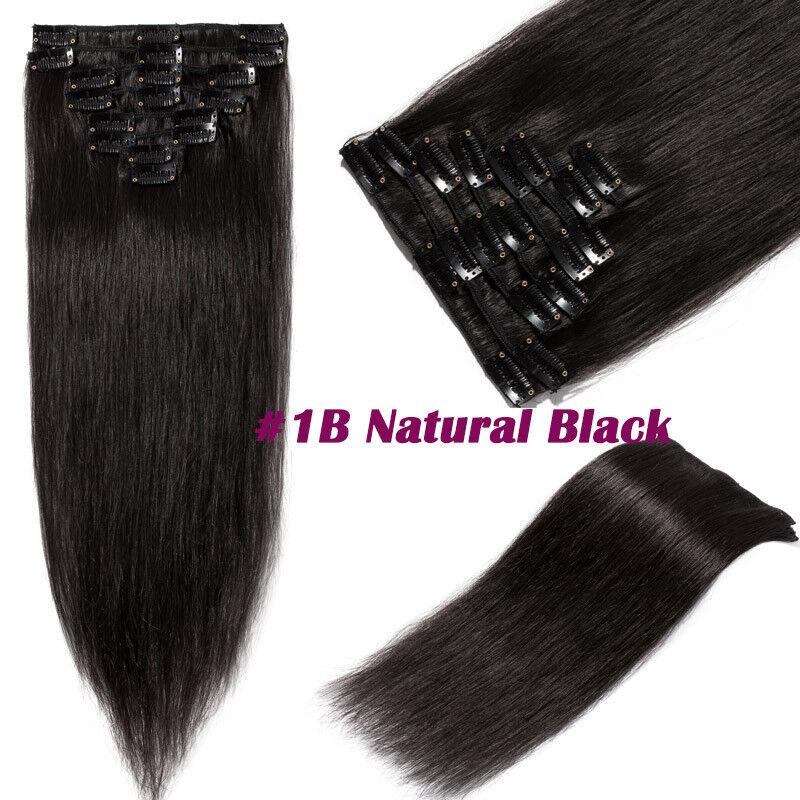 50CM 60CM Echthaar Clip In Extensions Remy Haar Haarverlängerung 8 teilig Set DE #1B Naturschwarz