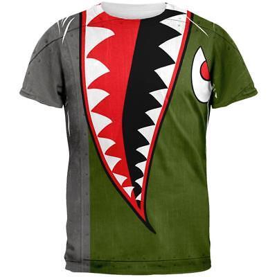 Halloween WWII Flying Tiger Fighter Shark Nose Art All Over Mens T Shirt](Tiger Nose Halloween)