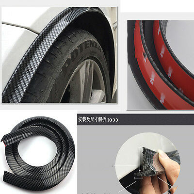4Pcs Universal 3D Carbon Fiber Front & Rear Fender Wheel Flare Spoiler Parts for sale  Shipping to United States