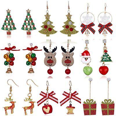 Christmas Tree Bell Deer Snowman Earrings Ear Stud Hook Xmas Party Women (Women Deer)