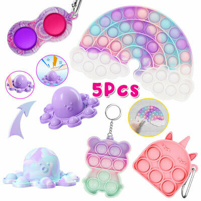 5 Pack Popit Bubble Fidget Toys Set Autism Stress Relief Simple Dimple Gift Game