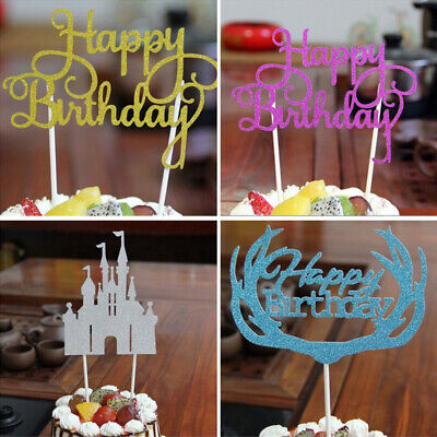 Cupcake Birthday Cakes (15PC/Lot Happy Birthday Cake Topper Glitter Cupcake Dessert Decor Party)