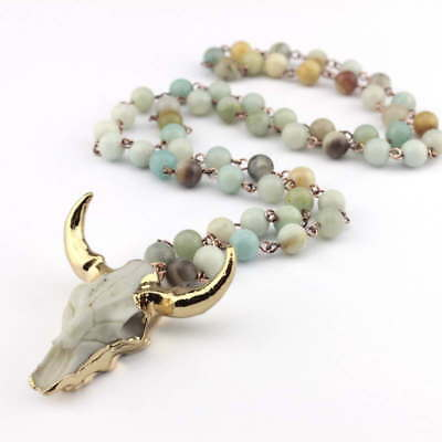 (Amazonite Stone Statement Necklace Bohemian Tribal Jewelry Horn Pendant Necklace)