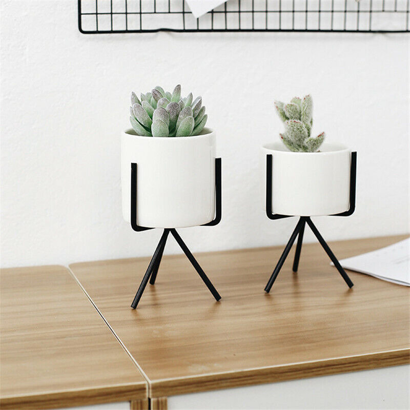 Iron Pot Shelf Stand Garden Decor* Modern Ceramic Succulent Flower Planter Pot