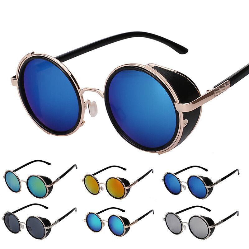 Vintage Steampunk Sonnenbrille Retro Hippie Rund Brillen Side Shield Rundbrille