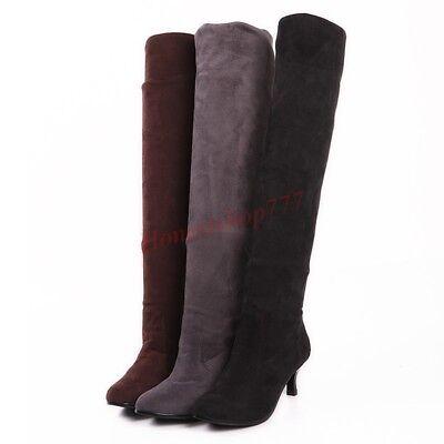 Frauen Stretch Kniehohe Stiefel Kätzchen Ferse Spitz Mode Vintage Schuhe 43 42  ()