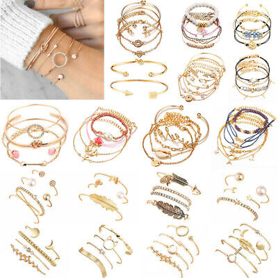 Boho Fashion Women's Jewelry Bracelets Chain Cuff Bangle Lady Charm Bracelet Set](Bangle Charm Bracelets)