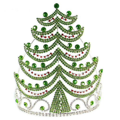 Huge Green Xmas Tree Crystal Tiara Crown 2 Sizes Available Christmas Gift