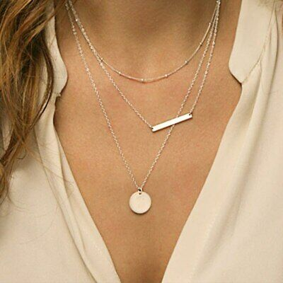 Layered Disc Necklace - Silver Choker Necklace Coin Lariat Layered Beaded Bar Dainty Disc Simple Sparkle