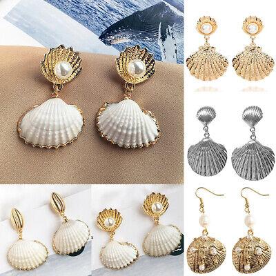 Women Pearl Sea Shell Pendant Statement Dangle Drop Earrings Bride Jewelry Gift