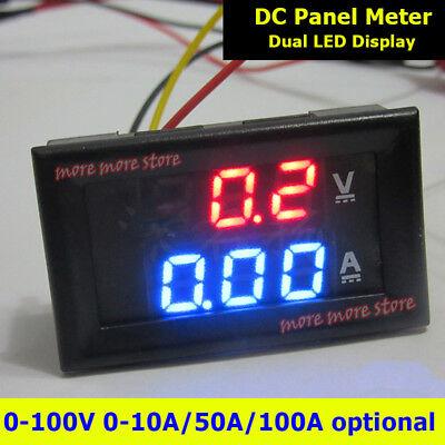 Dc 0-100v 10a 50a 100a Digital Voltmeter Ammeter Dual Led Amp Volt Meter Shunt