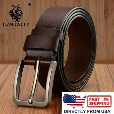 Men's Classic Metal Buckle Handcrafted Genuine Leather Jean Belt