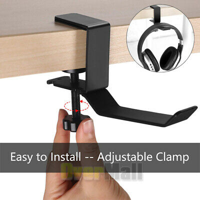 Adjustable Headset Headphone Desk Table Holder Hanger Clamp Clip Screws Black