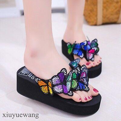 Womens Flip Flops Thong Butterfly Decor Wedge Heel Slippers Shoes Summer - Decorated Flip Flops