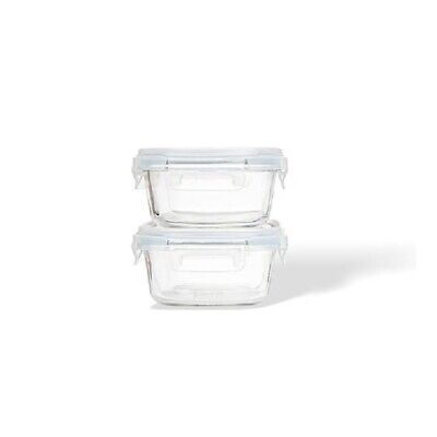 Starlock Edge Glass Square Snack Food Storage Container 2p Set Oven Glass 320ml