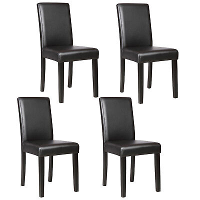 4 Pcs Leather Dining Room Chairs Elegant Design Backrest Kitchen Furniture - Designer Dining Room Chairs