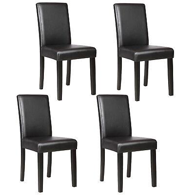 Set of 4 Dining Chair Elegant Design Kitchen Dinette Room Black Leather Backrest