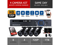 HD CCTV Full Security Camera System, 4 x HD cameras, 8 Channel DVR, 1TB Drive, HDMI, Full Kit *NEW*