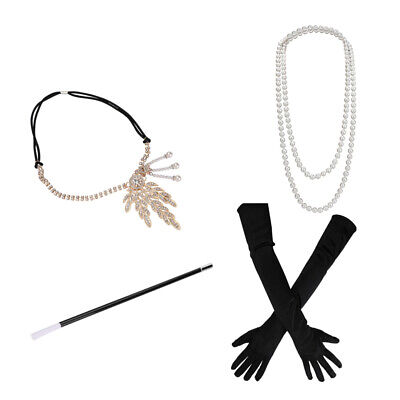 Great Gatsby Womens Costume (1920S Great Gatsby Accessories Set For Women Costume Flapper Headpiece)