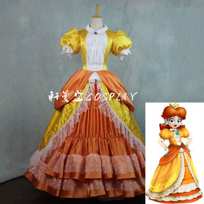Super Mario Princess Daisy Costume Sisters Adult Women Cosplay Dress Bros Luigi:](Adult Princess Daisy Costume)