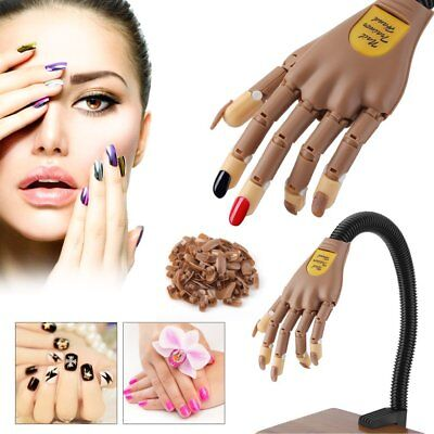 Flexible Nail Trainer Bendable Nail Art Practice Hand w/100 tips Replace Nail OY