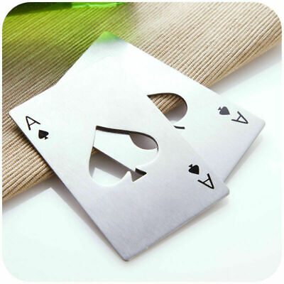 STAINLESS STEEL ACE OF SPADES POKER CARD BOTTLE OPENER  1 PAIR