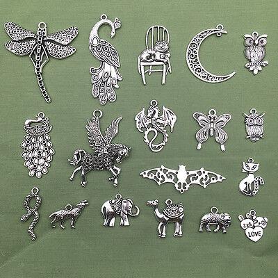 Jewellery - Lot Vintage Tibet Silver Peacock Elephant Animal Pendant Charms Jewelry Findings