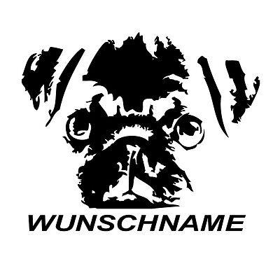 Mops + WUNSCHNAME - Aufkleber Auto Folie KFZ Hund Welpe Pug, Carlin, niedlich ()