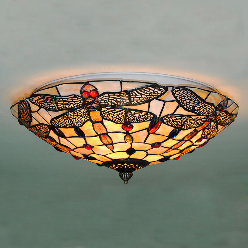 Vintage Tiffany Style Dragonfly Hanging Stained Glass