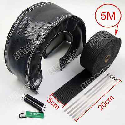 (US T4 Black out Lava Turbo Blanket & 5cm x 5m Exhaust Header Heat Pipe Wrap Tape)