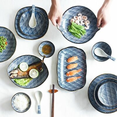 Ceramic Plates Wave Pattern Japanese Style Pasta Plate Top Quality Tableware New