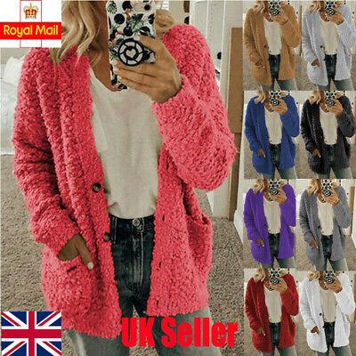 UK Womens Plus Size Fleece Cardigan Coats Ladies Warm Sweater Jackets Outwear