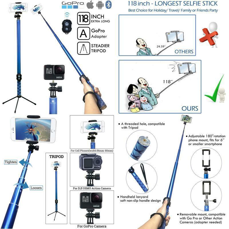 Bluetooth Long Selfie Stick- Super Length Lightweight Extend