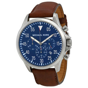 Michael Kors Gage Chronograph Blue Dial Brown Leather Mens Watch