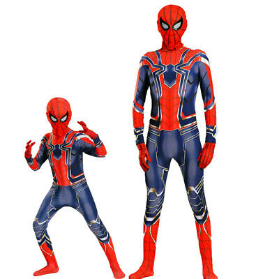 Iron Spider-Man Cosplay Costume Spiderman Lycra Zentai Suit Cos For Adult & - Iron Spider Costume For Kids