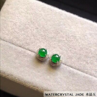 Beautiful Myanmar Grade A Jadeite Yang Green Cabochon Jade Earring Stud 18K
