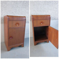 Antique Vintage Waterfall Side Table with Cabinet for beside bed
