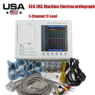 7-in Color Portable Digital 3-channel 12-lead Electrocardiograph Ecg Ekg Machine