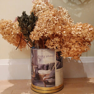 Dried hydrangea in decoupaged pot – 2 feet x 2 feet