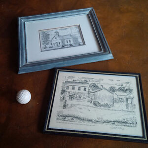 Two Framed Sketches from Conestogo, ON, by Robert Gaede