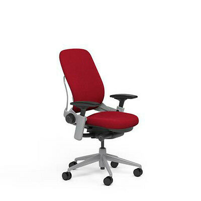Steelcase Adjustable Leap Desk Chair Buzz2 Rouge Red Fabric Seat Platinum Frame