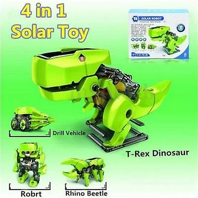 4 in 1 Solar Powered Transforming Robot Science Educational Moving Toy T-Rex DIY
