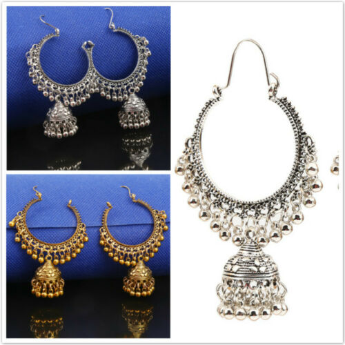Women's Gold Silver Oxidized Indian Ethnic Round Bell Drop E