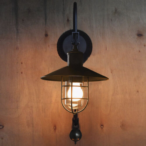 Industrial Warehouse Gooseneck Wall Sconce Light Fixture Pulley ...