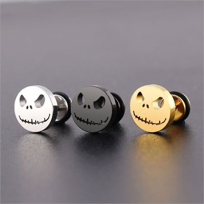 Men Women Titanium Stainless Steel Ear Stud Earring Punk Halloween Evil Skull - Halloween Earrings