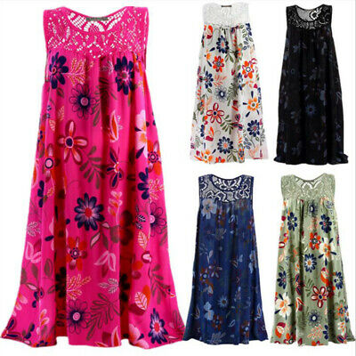 Womens Summer Sleeveless Floral A Line Dress Cocktail Party Midi Beach Sundress